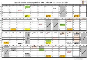 Vakantierooster met studie- & RV-dagen 2019 - 2020