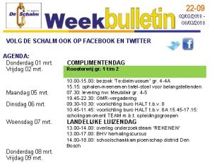 weekbulletin 09 - 2018