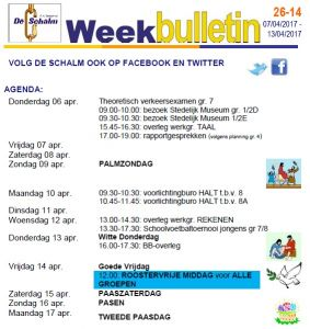 weekbulletin 14 - 2017