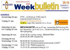 weekbulletin 16 - 2017