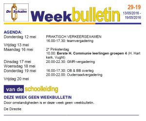 weekbulletin 29 - 19
