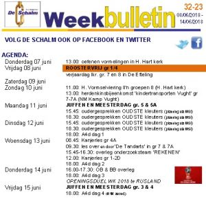 weekbulletin 23 - 2018