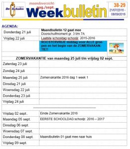 weekbulletin 29 - 2016