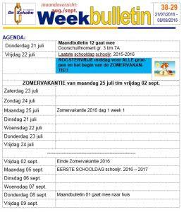 weekbulletin 29 - 2016