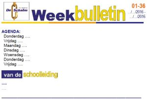 weekbulletin 36 - 2016