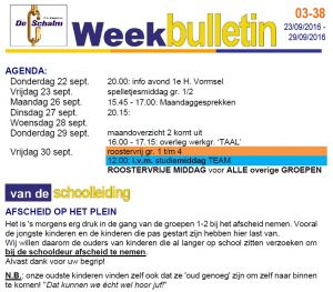 weekbulletin 38 - 2016