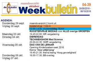 weekbulletin 39 - 2016