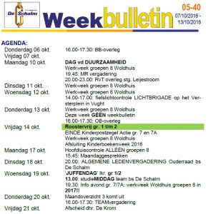 weekbulletin 40 - 2016