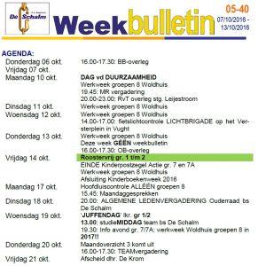 weekbulletin 40 - 2016