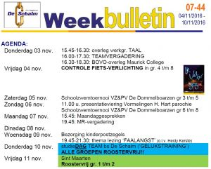 weekbulletin 44 - 2016